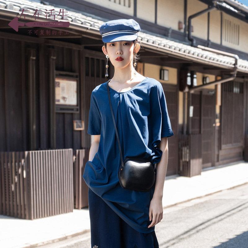 生活在左2019秋季女装新款牛仔蓝纯棉针织短袖连衣裙宽松显瘦裙子