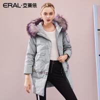 ERAL/艾莱依变形金刚联名款2018冬装新品印花羽绒服女617104103
