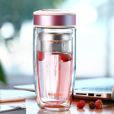 透明好看的水杯便携隔热保温杯子外出双层玻璃杯办公室茶杯