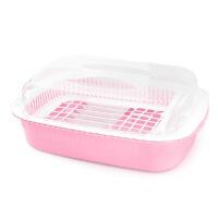 双庆 带盖密封双层沥水碗碟架大号碗柜厨房碗碟沥水置物架滴水透明碗架 韩式碗架 粉色