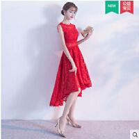 敬酒服新娘红色短款 新款婚礼结婚晚礼服甜美公主前短后长