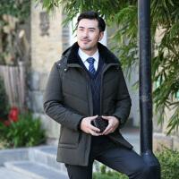 中老年外套 男士加绒加厚中长款连帽拉链衫冬季新款韩版男士时尚休闲舒适百搭男装