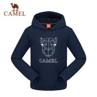 camel骆驼秋冬季儿童加厚套头运动卫衣男女童弹力带帽T恤
