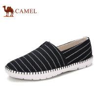 camel骆驼男鞋 新品 日常男士条纹帆布鞋套脚休闲男鞋