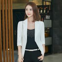 韩版短款修身气质商务百搭职业小西服女收腰西装中袖外套女士上衣