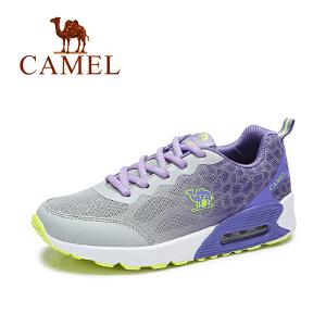 【每满200减100元 满400-200】Camel/骆驼女鞋新款 网面系带渐变拼色气垫运动鞋跑鞋