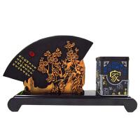 炭雕工艺品  中国风扇形笔筒套件  办公室商务摆件  梅兰竹菊笔筒摆件5-007