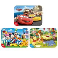 【当当自营】迪士尼拼图玩具 100片铁盒木质拼图三合一(米奇2421+维尼2422+赛车2427)