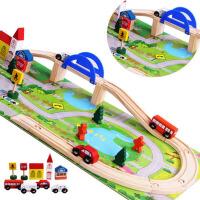 组合积木木质玩具 拆装火车轨道木制40PC 轨道立交桥交通场景城市