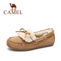 camel骆驼女鞋 新款 豆豆鞋加绒鞋保暖雪地鞋平底休闲孕妇鞋