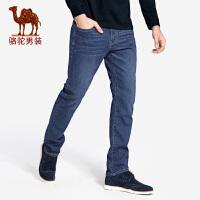骆驼男装牛仔裤男直筒 春秋新款男士韩版潮流商务休闲长裤子