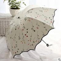 包邮 荷叶边小花藤三折折叠创意伞防晒伞女士太阳伞防紫外线晴雨伞