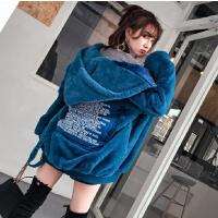 女生冬季毛茸茸拉链外套宽松连帽韩版中长款加绒加厚毛毛卫衣 蓝色 内里加绒