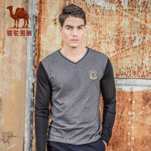 骆驼男装春季 时尚V领上衣青年商务休闲长袖T恤衫潮男