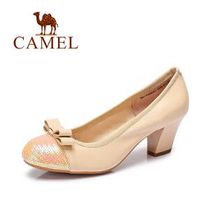 camel骆驼女鞋通勤风羊皮圆头蝴蝶结粗高跟鞋 春新款浅口单鞋