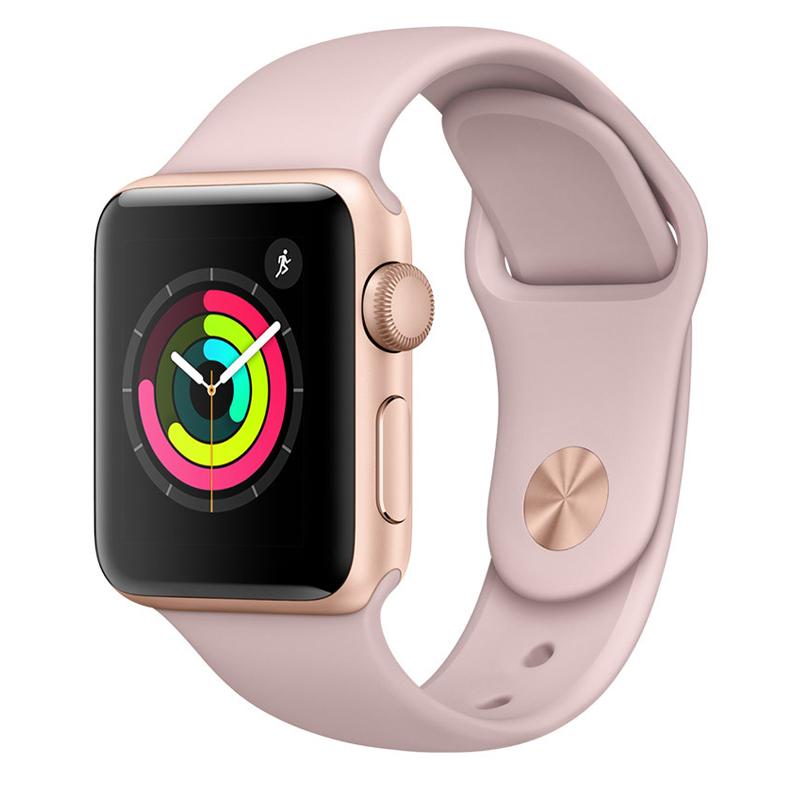 Apple Watch Series 3智能手表(GPS款 42毫米 金色铝金属表壳 粉砂色运动型表带 MQL22CH/A)可使用礼品卡支付 国行正品 全国联保