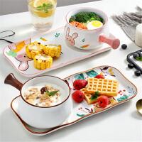 日式早餐手工釉下彩陶瓷手柄碗可爱创意个性家用吃饭碗碟盘子餐具一人食套装