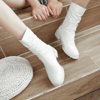 2019韩版春秋靴子冬季短靴女靴平底平跟中筒靴百搭白色后拉链