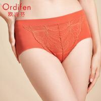 欧迪芬商场同款女式内裤优雅蕾丝舒适包臀隐形不夹臀中腰三角女士内裤 OP0220