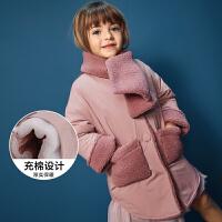 【满200减40/满300减80】迷你巴拉巴拉女童H型棉服2018年冬季新款宝宝翻边袖保暖儿童棉衣