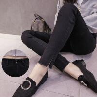 灰色牛仔裤女2017秋冬新款不加绒长裤韩版高腰学生小脚裤女土裤子