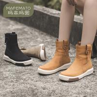 玛菲玛图机车短靴女单靴子2020秋款英伦休娴运动短筒平底中跟厚底马丁靴女1811-15