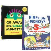 进口英文原版绘本Go Away Big Green Monster走开大绿怪 + Five Little Monkey