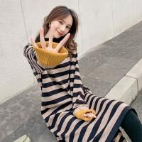 秋冬韩版时尚中长款宽松条纹毛衣连衣裙冬天孕妇冬装上衣针织衫