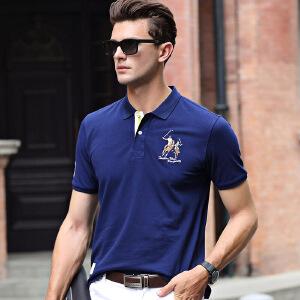 男士t恤短袖夏季新品翻领体恤衫商务纯色纯棉韩版男装上衣