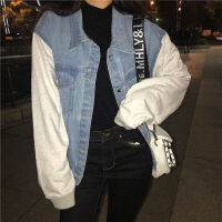 新女士外套2018秋新款韩版个性百搭时尚女装上衣针织拼袖牛仔外套女N12Au005 牛仔色