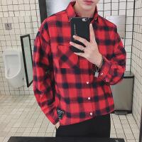 衬衫男学生秋季男士衬衫格子衬衣长袖外套韩版潮流黄色文艺青少年港风原宿风