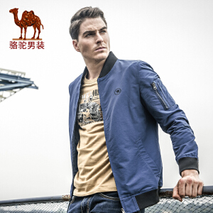 骆驼男装 春季时尚棒球领休闲飞行员夹克衫 长袖保暖外套男