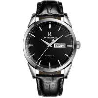 2018新款 瑞之缘轻薄瑞士手表防水男士手表真皮皮带男表手表 男002 黑底银边