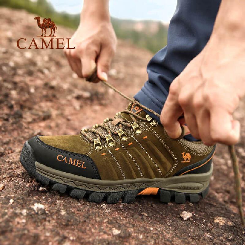 camel骆驼户外男款登山鞋 防滑缓震防护低帮系带徒步登山