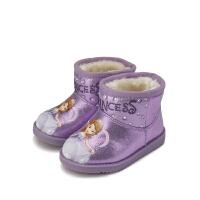 【159元任选2双】迪士尼Disney童鞋女童冬季加绒保暖靴子雪地靴婴幼童 K00013