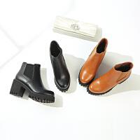 【加高防水台加绒保暖】新品冬款粗跟气质高跟舒适增高套脚女