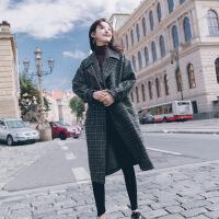 韩版呢子大衣女中长款2018秋冬新款学生格子毛呢外套Q18NZ5186