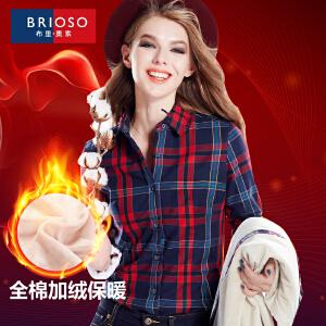 BRIOSO 女士加绒保暖衬衫全棉磨毛加绒加厚韩版显瘦保暖格子长袖衬衫 女装衬衣 WE19395