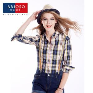 BRIOSO 女士纯棉格子衬衫 秋装新款韩版百搭时尚修身长袖衬衫 大码基础女装衬衣 WE2795