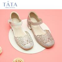 【到手价:215.2元】tata女童皮鞋2020年春季新款女孩公主鞋中大童闪钻单鞋校园演出