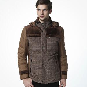 骆驼男装 冬装修身短款休闲轻薄男外套男士保暖外套羽绒服