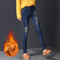 加绒牛仔裤女高腰冬季小脚裤子2017新款女铅笔裤亮片修身显瘦女裤 26 一尺九