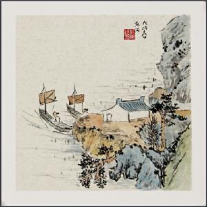 创意文人画,仿古卡纸-刘东河 真迹 【R1194】