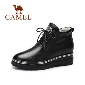 camel骆驼女鞋新款欧美时尚水钻系带圆头中跟单鞋个性高帮秋鞋