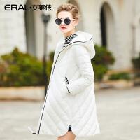 ERAL/艾莱依2017冬韩版口袋时尚羽绒服女中长款修身加厚16301-FDA