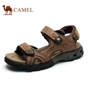 camel骆驼凉鞋男夏季 头层牛皮凉鞋休闲沙滩鞋魔术贴男凉鞋