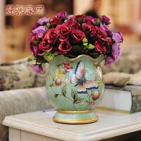 墨菲 欧式花瓶摆件田园陶瓷现代简约创意客厅装饰品插花器含花