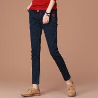 加绒牛仔裤女装2017冬季新款复古保暖小脚裤子加厚哈伦裤 蓝色