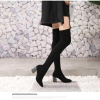 2019秋冬季舒适高跟袜子靴弹力布高筒显瘦过膝长靴长筒袜靴女 亮片黑色ZU87-U2