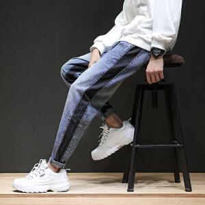 宽松哈伦小脚个性拼接日系青少年长裤嘻哈风牛仔裤男